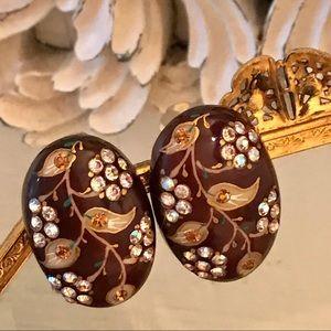 Pair Vintage Thermoplastic Clip Earrings